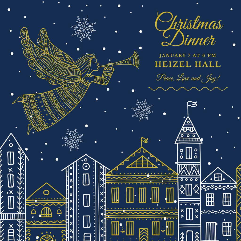 Christmas Dinner Invitation Angel Flying over City — ein Design erstellen