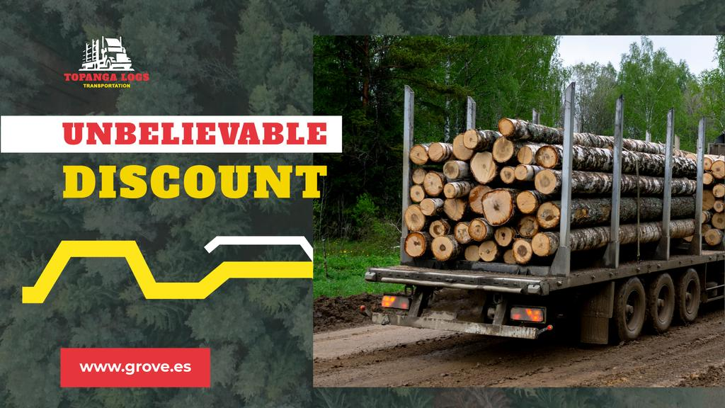 Transportation Services Offer Truck Delivering Logs — Crear un diseño