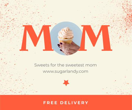 Designvorlage Sweets Delivery Offer on Mother's Day für Facebook