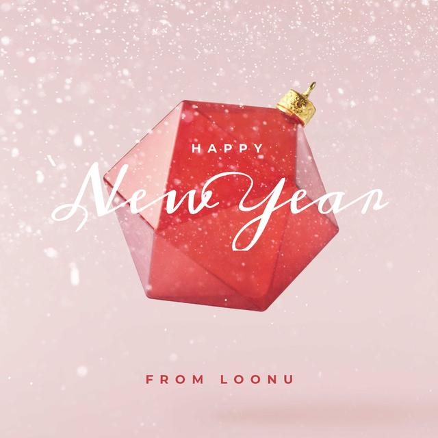 New Year Greeting with Ball in red Instagram Modelo de Design