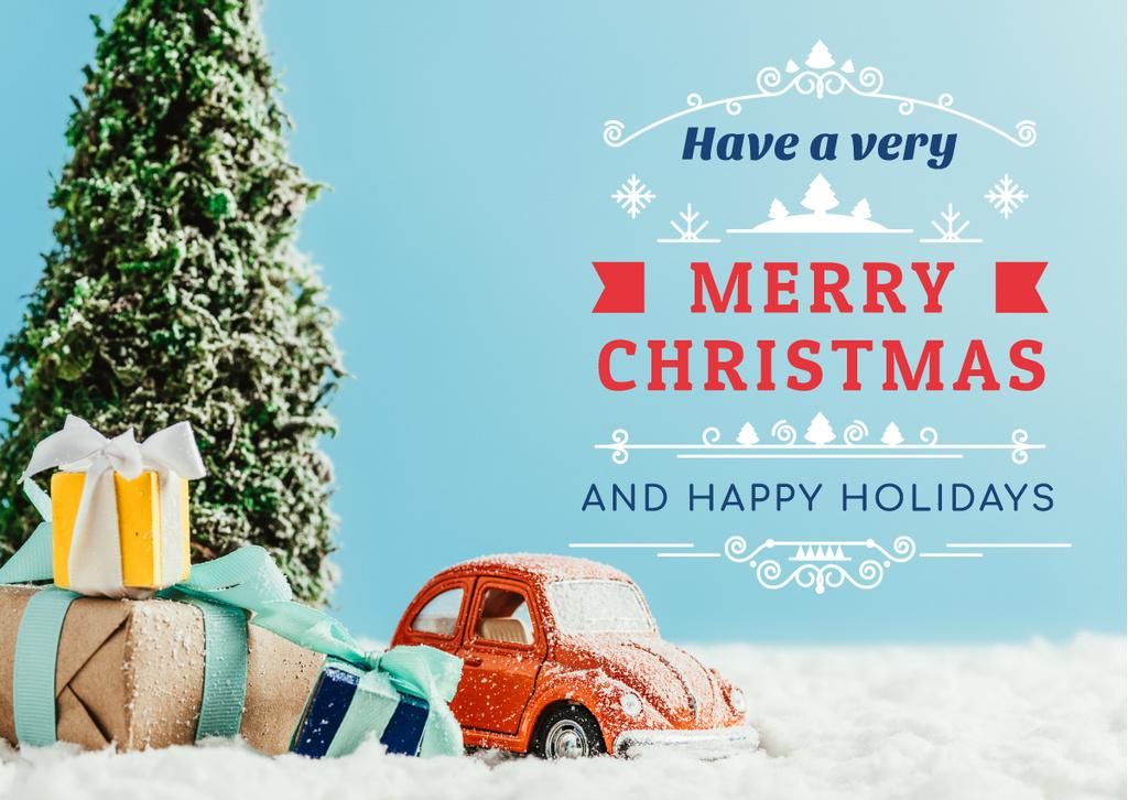 Plantilla de diseño de Merry Christmas Greeting Toy Tree and Gifts Card