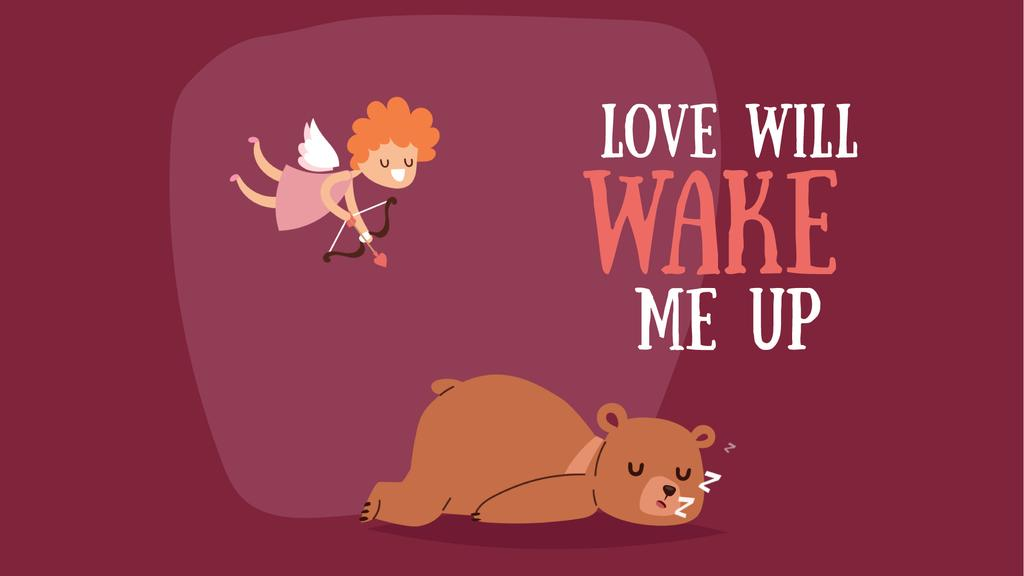 Valentine's Day Cupid shooting arrow in sleeping Bear — Crear un diseño