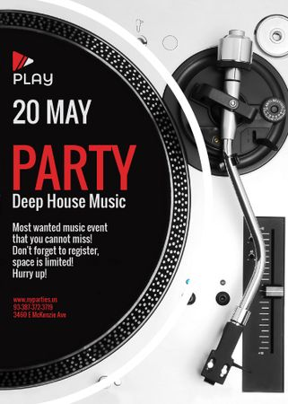 Party Invitation with Vinyl Record Playing Flayer Tasarım Şablonu
