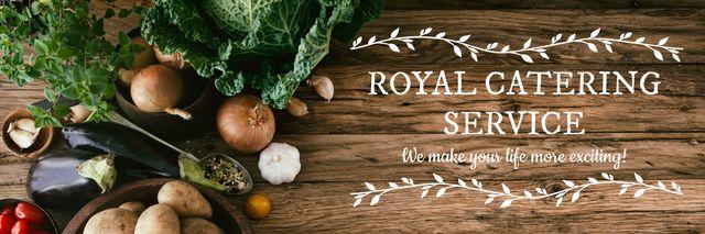 Catering Service Ad Vegetables on Table Twitter Modelo de Design