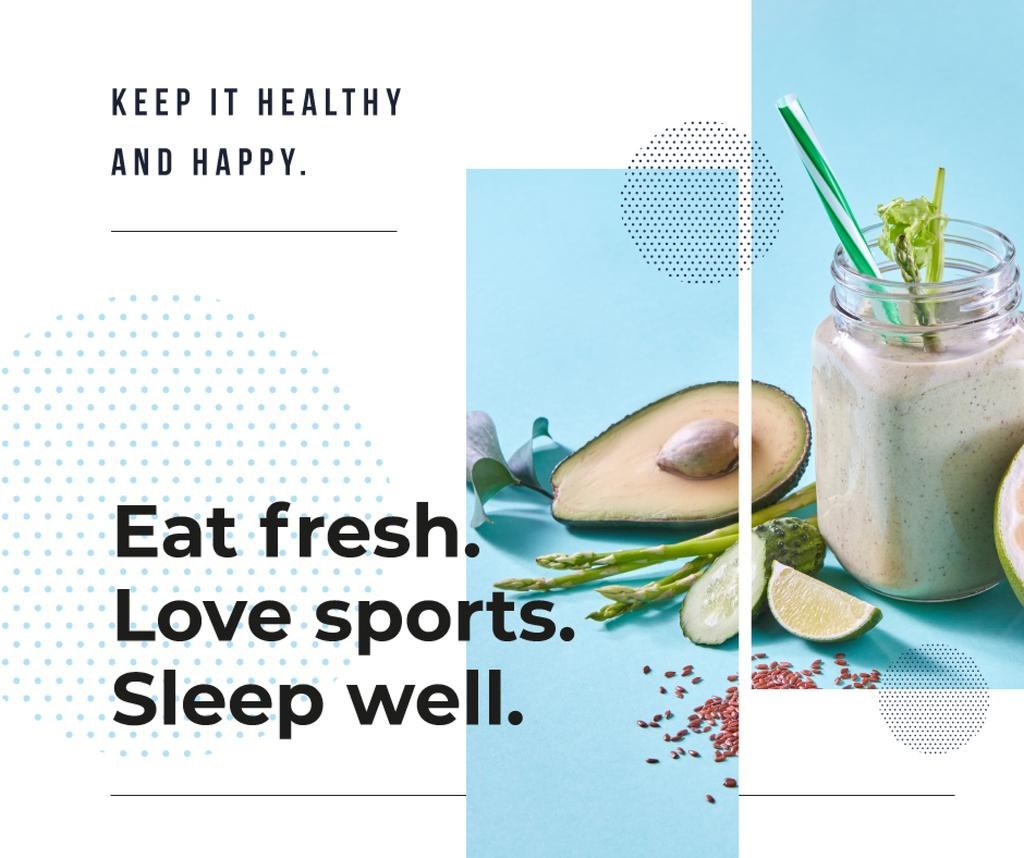 Healthy Lifestyle Concept Green Smoothie | Facebook Post Template — Create a Design