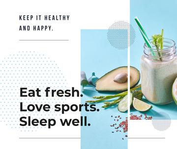 Healthy Lifestyle Concept Green Smoothie | Facebook Post Template