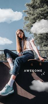 Stylish Young Girl with skateboard