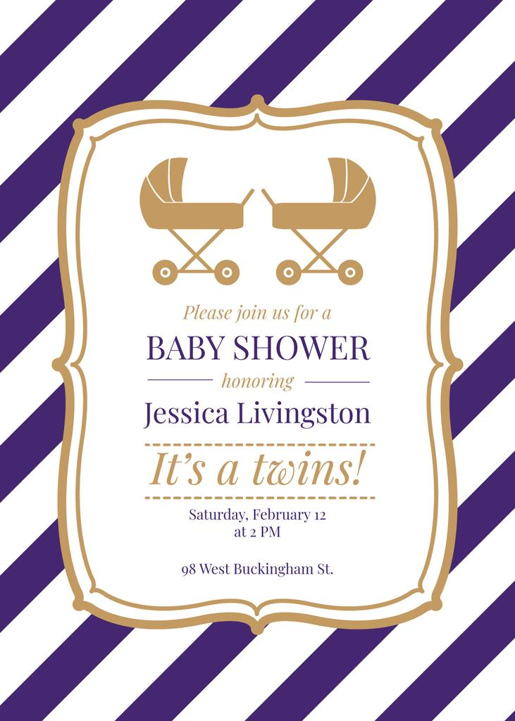 Baby Shower Invitation Strollers in Frame —デザインを作成する