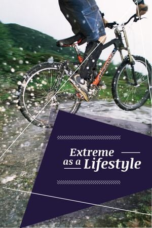 Plantilla de diseño de Extreme Sport inspiration Cyclist in Mountains Tumblr