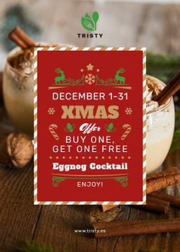 Christmas Drinks Offer Glasses with Eggnog | Flyer Template