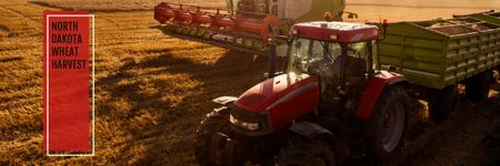 Designvorlage Agricultural Machinery Industry with Harvester Working in Field für Email header