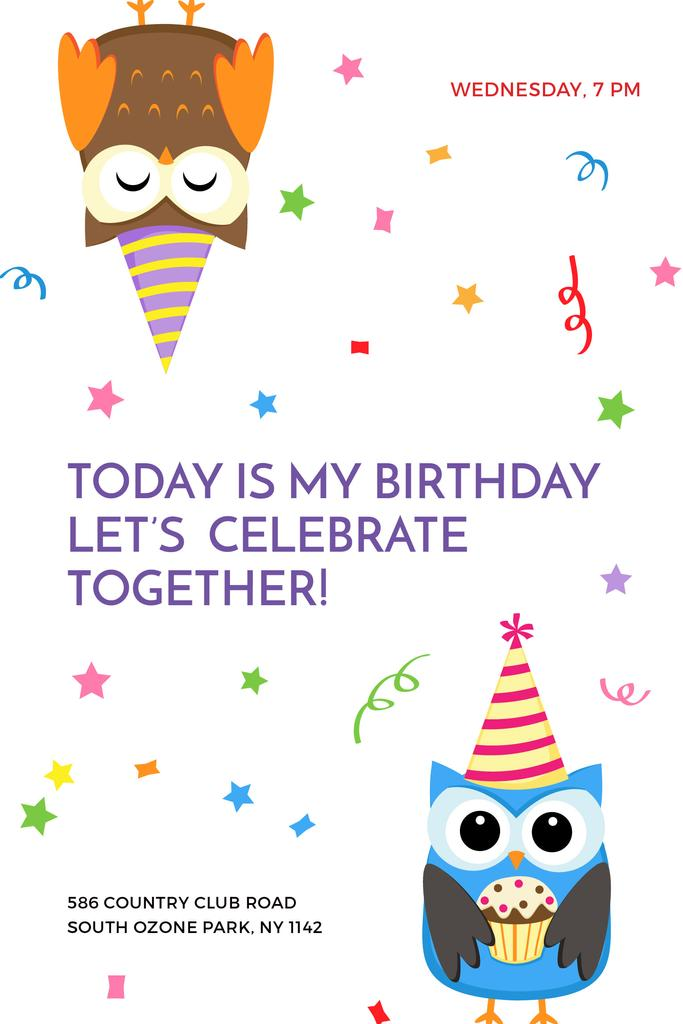 Birthday Invitation with Party Owls - Bir Tasarım Oluşturun