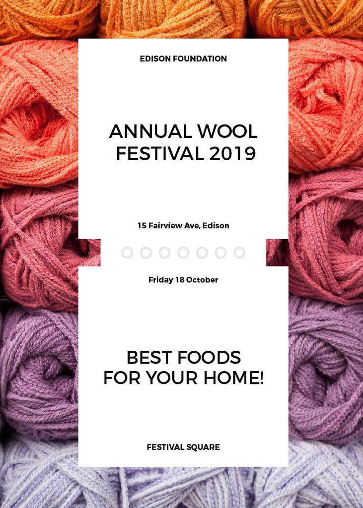 Knitting Festival Invitation Wool Yarn Skeins | Flyer Template — Create a Design