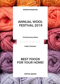 Knitting Festival Invitation Wool Yarn Skeins | Flyer Template