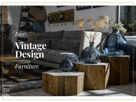 Vintage design furniture with Stylish Room Presentation – шаблон для дизайна