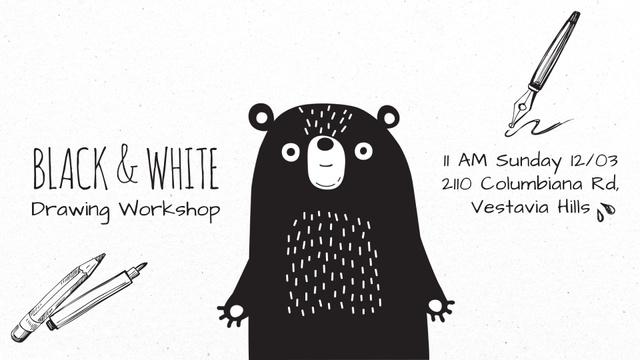 Character Drawing Scary Cartoon Bear Full HD video Modelo de Design
