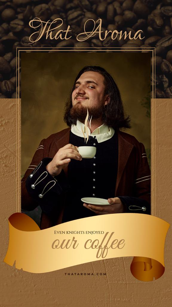 Coffee Ad Man in Medieval Costume Holding Cup | Vertical Video Template — Создать дизайн