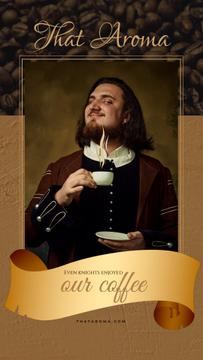 Coffee Ad Man in Medieval Costume Holding Cup | Vertical Video Template