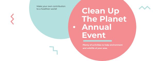 Ontwerpsjabloon van Facebook cover van Ecological Event Announcement with Simple Circles Frame