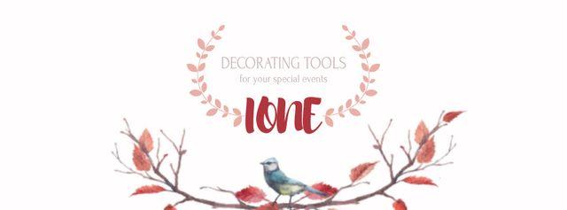 Tiny bird on tree branch Facebook Video cover – шаблон для дизайна