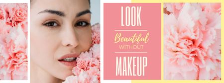 Plantilla de diseño de Beauty Inspiration Young Girl without makeup Facebook cover