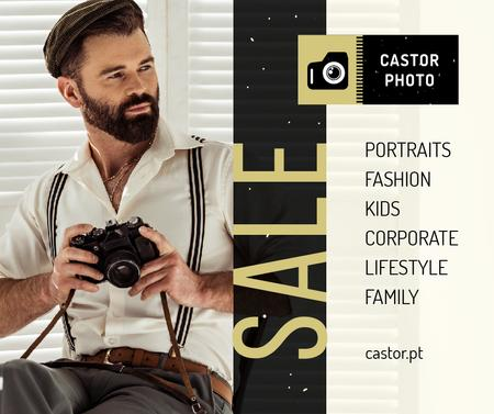 Photography Offer hipster Man with Camera Facebook Design Template