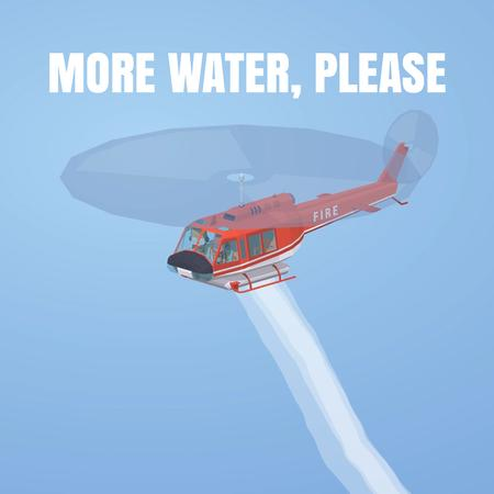 Ontwerpsjabloon van Animated Post van Fire helicopter dropping water