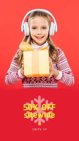 Plantilla de diseño de Christmas Offer Girl in Headphones with Gift Instagram Story