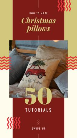 Pillow with Christmas tree Instagram Story – шаблон для дизайну
