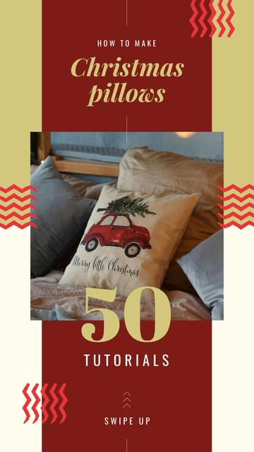 Plantilla de diseño de Pillow with Christmas tree Instagram Story