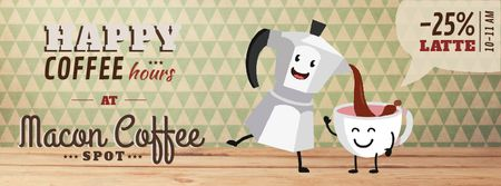Coffee Shop Promotion Moka Pot and Cup Facebook Video coverデザインテンプレート