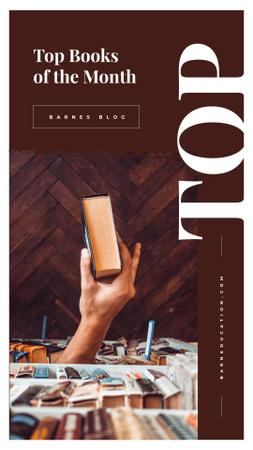 Top books of the mounth with Hand holding book Instagram Story Modelo de Design