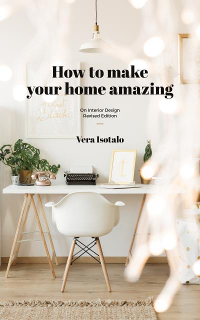 Modèle de visuel Home Design Typewriter on Working Table in White - Book Cover