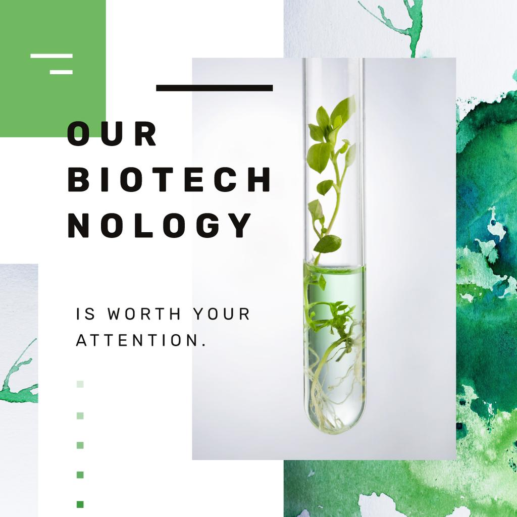 Ontwerpsjabloon van Instagram AD van Green Plants in Test Tube