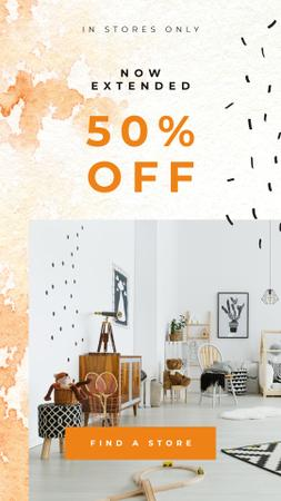 Plantilla de diseño de Sale Ad with cozy Kids room Instagram Story