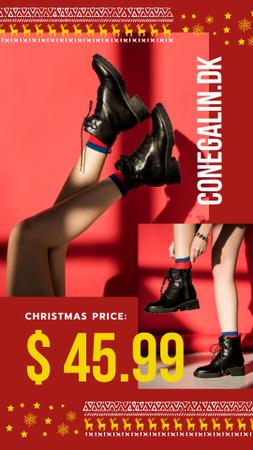 Template di design Christmas Sale Woman in Ankle Boots Instagram Story