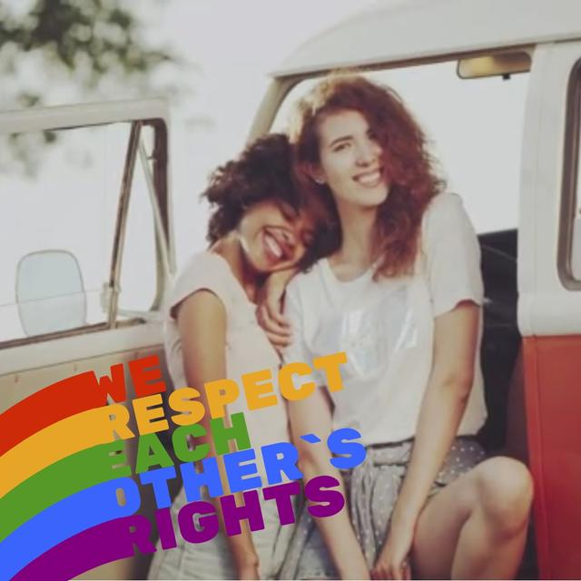 Modèle de visuel Pride Month Celebration with Two Smiling Girls - Animated Post