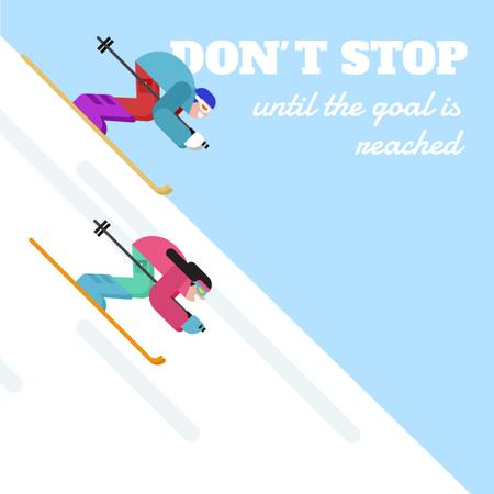 Skiers Riding on a Snowy Slope Animated Post Modelo de Design