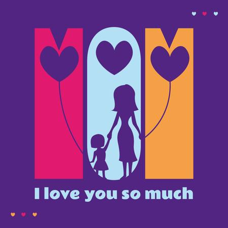 Mother's Day with Silhouettes of mother and daughter Instagram – шаблон для дизайну