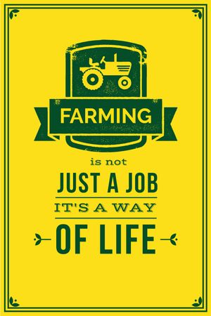 Ontwerpsjabloon van Tumblr van Agricultural Quote Tractor Icon in Yellow