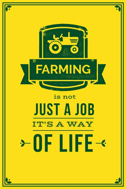 Agricultural Quote Tractor Icon in Yellow Tumblr Modelo de Design