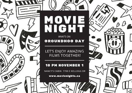 Movie Night Event Arts Icons Pattern Postcard Modelo de Design