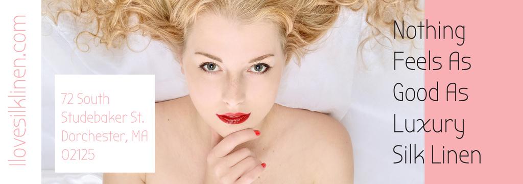 Woman resting in bed with silk linen — Modelo de projeto