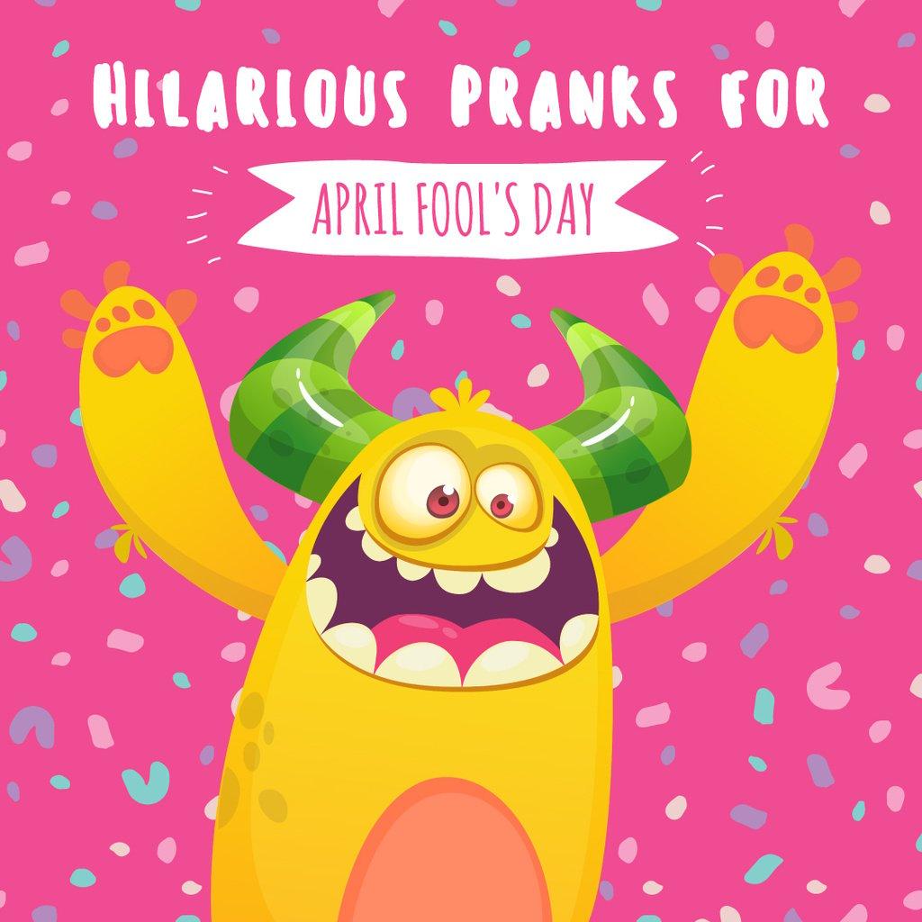 April fool's day monster Instagram AD Design Template