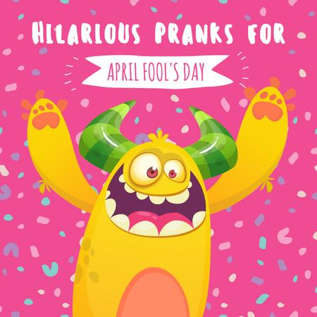 Template di design April fool's day monster Instagram AD