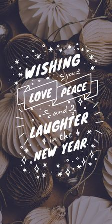 Plantilla de diseño de New Year greeting with Shiny decorations Graphic