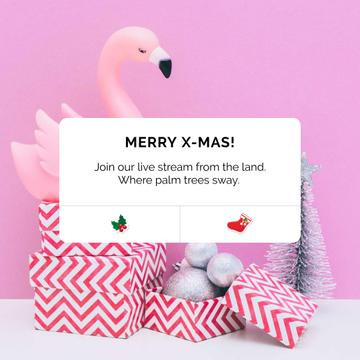Christmas greeting with Flamingo in present box