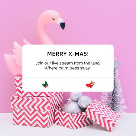 Christmas greeting with Flamingo in present box Instagramデザインテンプレート