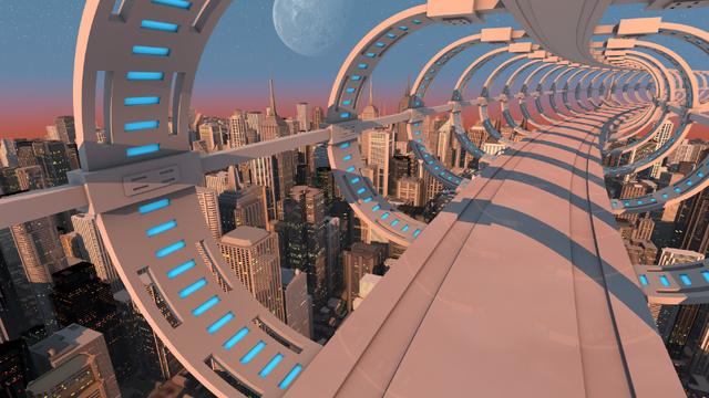 View of Futuristic City Buildings Zoom Background Modelo de Design