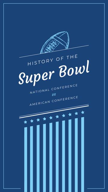 Ontwerpsjabloon van Instagram Story van Super Bowl Event Invitation Blue Rugby Ball